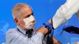 آنتونی فاوچی، مدیر موسسه ملی بیماریهای عفونی آمریکا در حال دریافت واکسن مدرنا