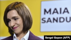 Maia Sandu speaks to the press in Chisinau on November 16 following her victory in Moldova's presidential election.