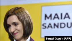 Maia Sandu 2020. november 16-án Chisinauban nyilatkozik a sajtónak.