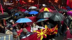 Protesters Rally In The Rain Against Macedonia Name Change