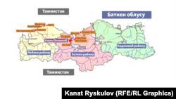Карта населенных пунктов, где происходили события на границе Кыргызстана и Таджикистана 28-29 апреля 2021 года.