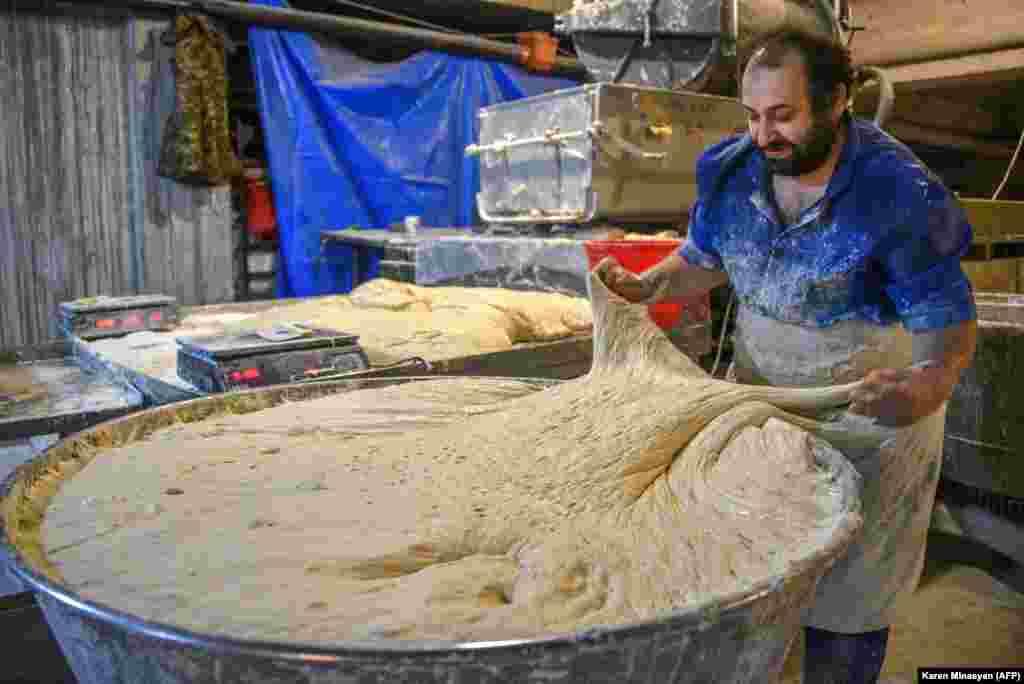 A baker prepares dough in Stepanakert on November 5.