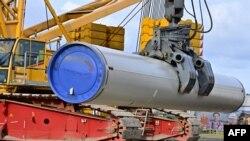 Архіўнае фота. Пракладка наземнай часткі газаправоду ў нямецкім Любміне, 26 сакавіка 2019