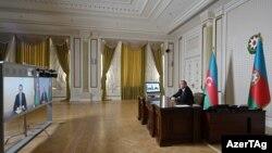 Azerbaijan -- President Ilham Aliyev speaks with newly appointed Foreign Minister Jeyhun Bayramov via video link, Baku, July 16, 2020.