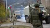Азербайджанские грузовые автомобили проезжают Лачин, 1 декабря 2020 г.