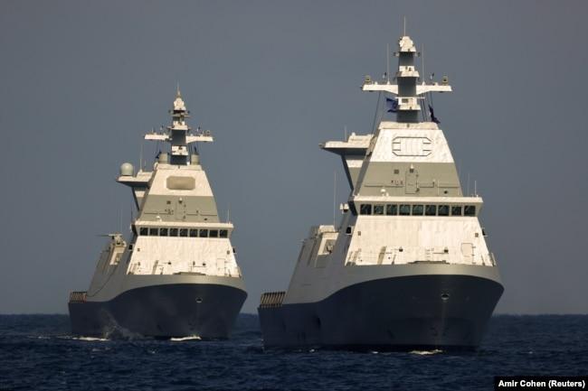 دو فروند از ناوهای «ساعر ۶» که جدیدترین یکانهای سطحی نیروی دریای اسرائیل هستند