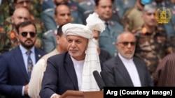 Ооганстан. Президент Ашраф Гани ооган элин Курман айт менен куттуктап жаткан учур. 20-июль, 2021-жыл.