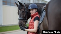 Вольга Сафронава і яе конь Сандра