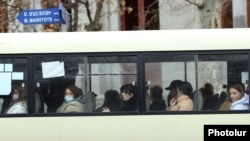 Armenia - Passengers on a commuter bus in Yerevan, March 12, 2021.