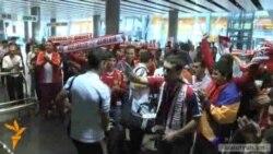 После победного матча в Копенгагене сборная Армении возвратилась домой