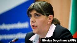 EU chief prosecutor Laura Koevesi speaks to reporters in Sofia on June 11.