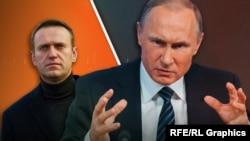 Алексей Навальный и Владимир Путин (коллаж)