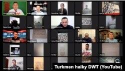 Türkmen aktiwistleriniň geçiren wirtual görnüşli protest aksiýasynyň skrinşoty. 6-njy oktýabr, 2020.