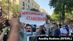 Protesters rally in Baku on September 9.