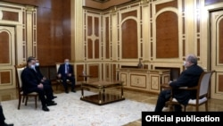 Armenia - President Armen Sarkissian meets with leaders of the opposition Homeland Salvation Movement, February 26, 2021.