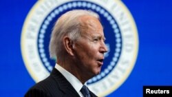 U.S. President Joe Biden speaks at the White House in Washington, D.C., on January 25.
