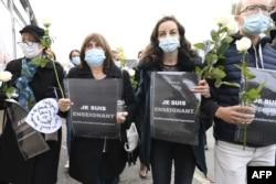اعتراضها در پیوند به کشته شدن یک معلم فرانسوی