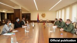 Armenia - Minister of Defense Davit Tonoyan meets with representatives of the International Committee of the Red Cross, Yerevan, October 10, 2020.