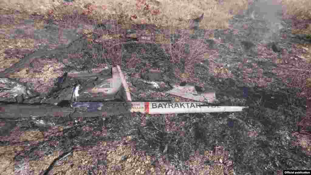 A charred fragment of a Turkish-made Bayraktar drone after the aircraft was reportedly shot down on November 8.