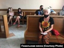 Людміла Хлусевіч у Рэчыцкім судзе. 25 чэрвеня 2021 году.