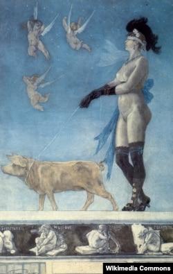 """Belçikalı rəssam Félicien Rops-un """"Pornocrates"""" rəsmi, 1896"""