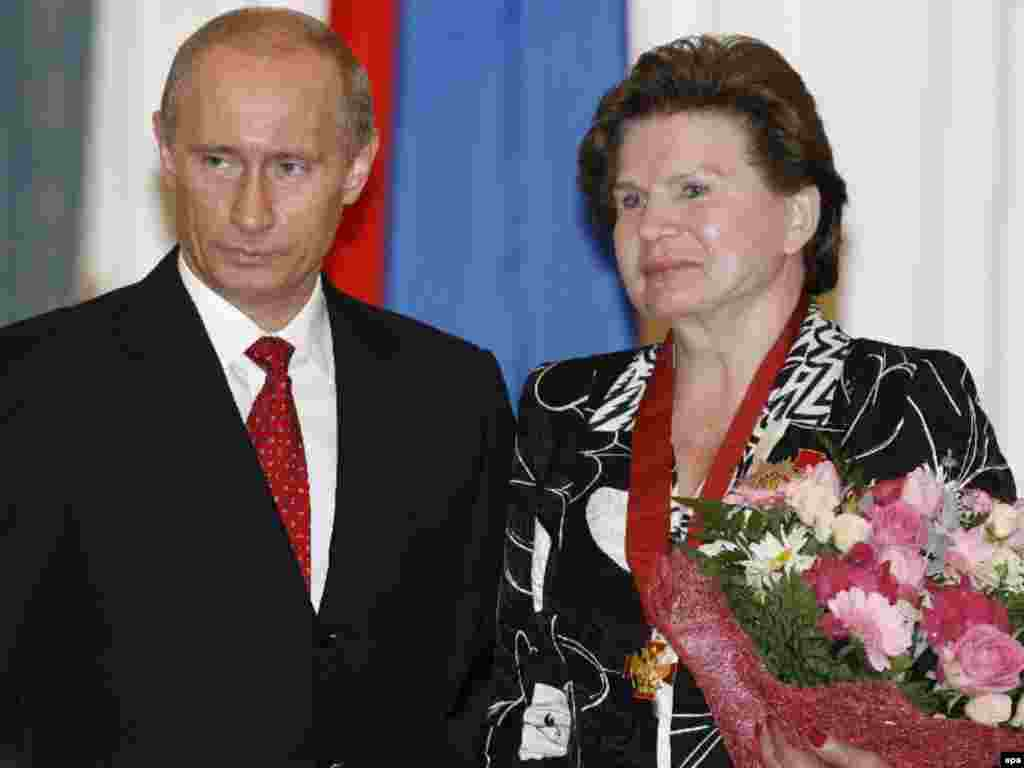Then-President Vladimir Putin honors Tereshkova with the Order for Service for the Fatherland in May 2007.