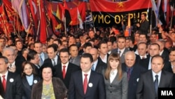 Раководството на ВМРО-ДПМНЕ на предизборен митинг во Охрид во 2011 година.
