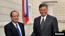 Predsednici Slovenije Borut Pahor (D) i Francuske Fransoa Oland (L)