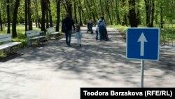 Позволеният маршрут за разходка в Южния парк е ясно обозначен с оранжеви ленти от двете страни на алеята и пътни знаци