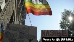 Gay rights activists rally in Belgrade in October 2011.