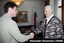 Boris Nemtsov, then-first deputy prime minister, meets Boris Yeltsin in Sochi in 1997.