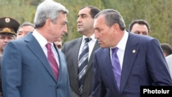Armenia - President Serzh Sarkisian (L) and Suren Khachatrian attend an official ceremony in 2011..