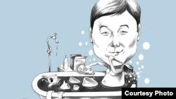 """Карикатура на высказывания заместителя председателя партии """"Нур Отан"""" Бауыржана Байбека по поводу способов экономии воды. Автор рисунка - Галым Смагул."""