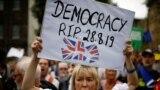 O protestatară anti-Brexit în fața Parlamentului la Londra