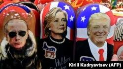 Элеси матрешкага чегерилген Путин, Клинтон жана Трамп