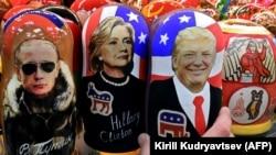 Матрешки с изображениями Владимира Путина, Хиллари Клинтон и Дональда Трампа
