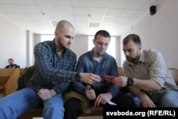 Віктар Данілаў, Андрэй Дундукоў і Віктар Мароз (зьлева направа)