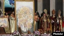 Армения - Церемония канонизации жертв Геноцида армян в Первопрестольном Святом Эчмиадзине, 23 апреля 2015 г.