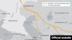 نقشه احتمالی خطوط لوله انتقال گاز دریای خزر به آسیای میانه
