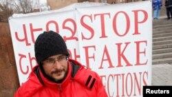 Андриас Гукасян во время голодовки, февраль 2013 г.