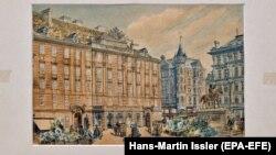 Pikturë që besohet të jetë punuar nga lideri nazist, Adolf Hitler.