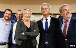 Лидеры правопопулистских партий Европы. В центре – Марин Ле Пен, второй слева - один из лидеров ПС Харальд Вилимски