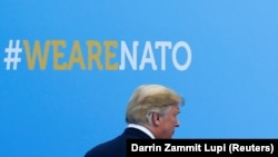 U.S. President Donald Trump at the start of a NATO summit in Brussels on July 11.