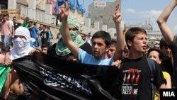 Протест на Албанци во Скопје поради апсењата во операцијата Монструм.