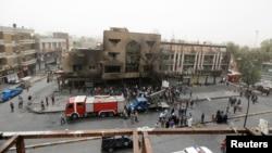 Место взрыва в Багдаде, 4 июля 2016 года.