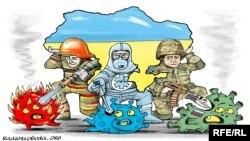 Таажы вирусу. Карикатура. А.Кустовский.