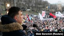 Mihail Saakașvili la un protest în Kiev, 4 februarie 2018