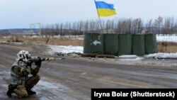Украинский блокпост в Донецкой области.