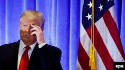Избранный президент США Дональд Трамп на пресс-конференции в Trump Tower. Нью-Йорк, 11 января 2017 года.