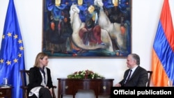 Armenia - Armenian Minister of Foreign Affairs Edward Nalbandian meeting with High Representative of the European Union for Foreign Affairs and Security Policy Federica Mogherini, Yerevan, 1March, 2016